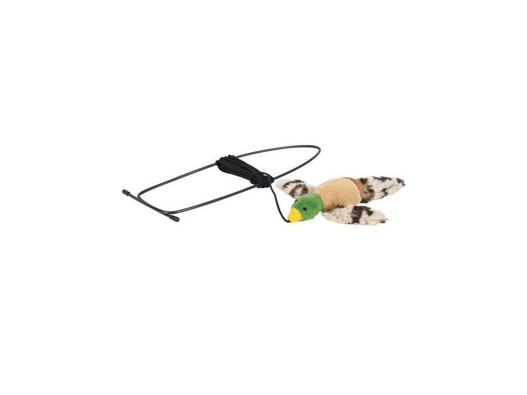 Plyšová létající kačena na gumičce 13 cm,úchyt na rám dveří