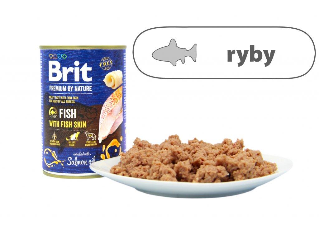 Brit Premium by Nature Fish menší konzerva štítek