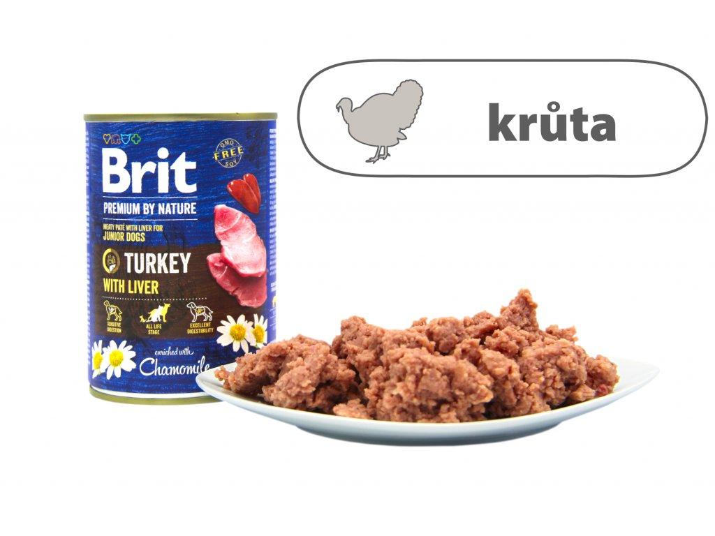 Brit Premium by Nature Turkey menší konzerva štítek