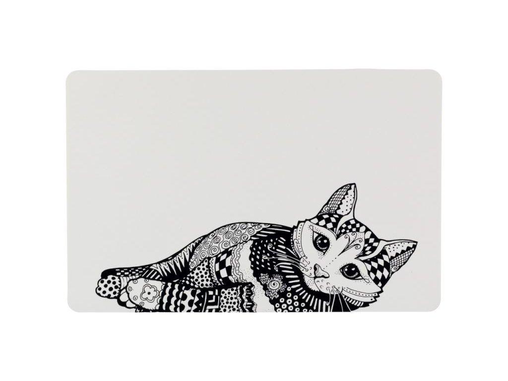 Prostírání Place Mat kočka 44 x 28 cm bílo černé
