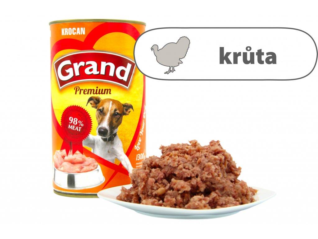 Grand konzerva pro psy Krůtí 1,3 kg