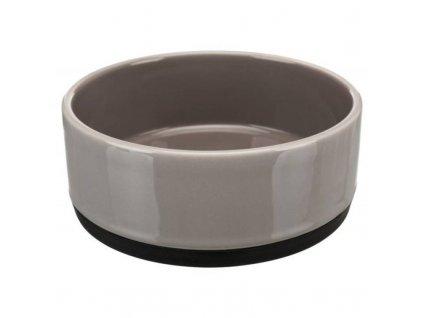Keramická miska s gumovovým okrajem, 0,4l ø 12cm, šedá