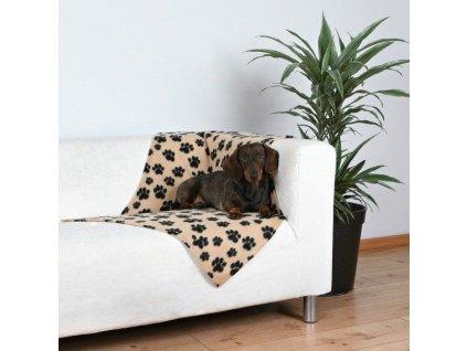 Flísová deka BEANY 100x70cm, béžová s černými tlapkami