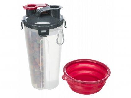 Cestovní zásobník na vodu a krmivo, včetně misky, 2 × 0.35 lpo11 × 23 cm