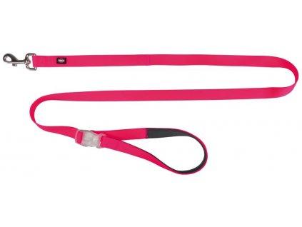 Neonové vodítko se svítící karabinou S L 1,2 1,8m 25mm růžové