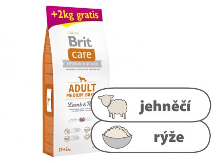 Brit Care Adult Medium Breed Lamb & Rice 12 + 2kg ZDARMA