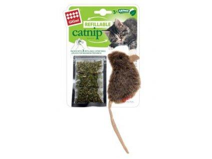 Hračka kočka GiGwiCatnip Myška se 3 sáč. vým. náplní