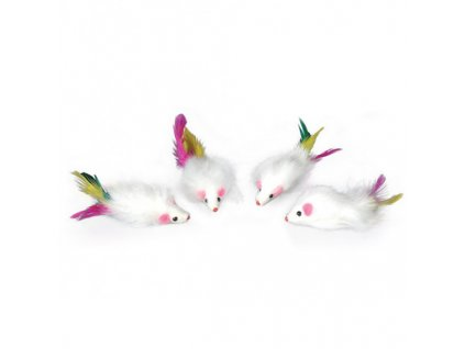 Hračka kočka Myš malá s peříčkem 5cm Tommi 4ks