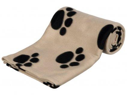 Flísová deka BARNEY 150x100cm, béžová s černými tlapkami