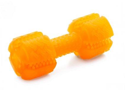 PR – oranžová dentální činka, odolná (gumová) hračka