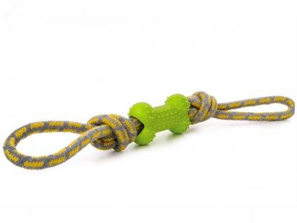 Bavlněné přetahovadlo s TPR zelenou kostí, odolná (gumová) hračka