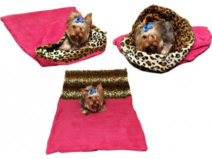 Spací pytel 3v1 leopard tm.růžová pes,kočka č.34