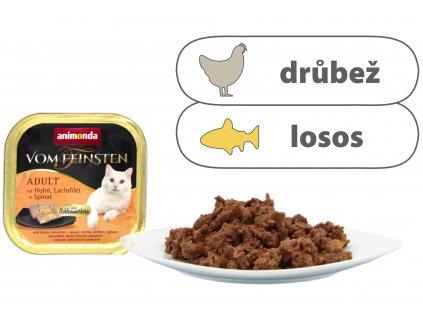 V.Feinsten CORE kuřecí, losos filet + špenát pro kočky 100 g