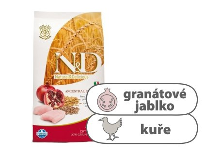 N&D LG DOG Adult M L Chicken & Pomegranate 12 kg