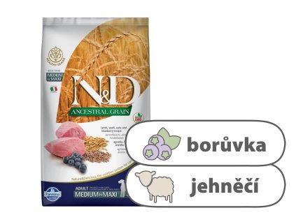 N&D LG DOG Adult M L Lamb & Blueberry 12 kg