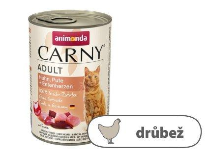 ANIMONDA konzerva CARNY Adult kuře, krůta+kachní srdce 400g