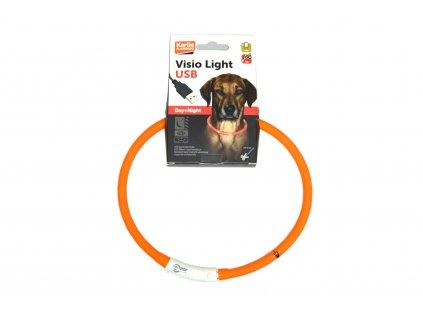 Visio Light svítící obojek 20 – 75 cm, oranžový