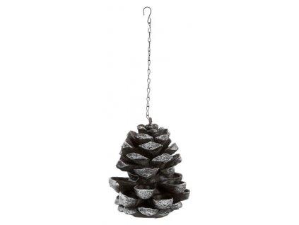 Borová šiska - závěsné krmítko, 19×23 ×19cm, hnědá/bílá, pryskyřice/kov