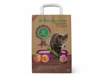 Bio-rozložitelná Tofu podestýlka s vůní šťavnaté broskve, stelivo pro kočky bez chemických přísad, 2,5 kg, kočkolit (Tofu Cat Litter Juicy Peach)