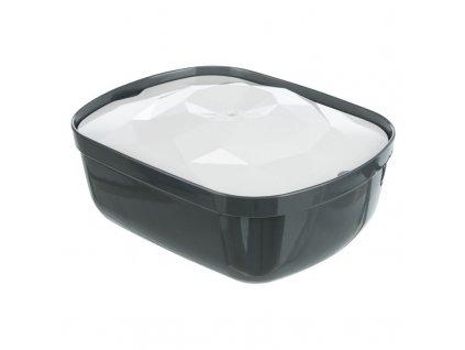 Pítko fontána Polygon, melamin/silikon, 2,5 l / 28 × 11 × 22 cm, šedá/bílá