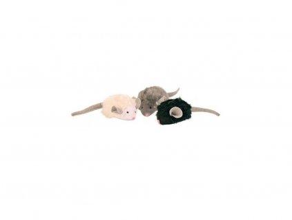 Mikročipová myš se zvukem a catnipem 6 cm, mix barev