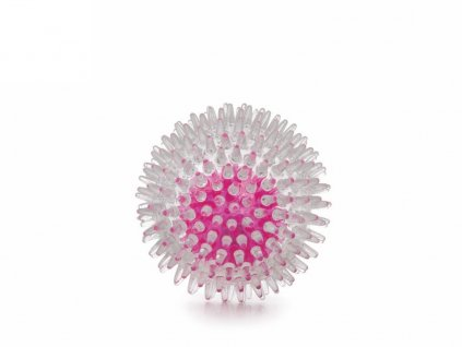 Blikající LED míč s bodlinami z termoplastické gumy 8 cm, růžová