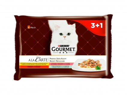 Purina Gourmet A la Carte Multipack (4 x 85 g) – kuře s těstovinou, hovězí a pstruh se zeleninou, tmavá treska | Krmiva u Toma