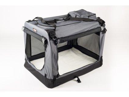 Transportní box, skládací kenelka Cool Pet Plus S šedá – 49,5 x 34,5 x 35 cm