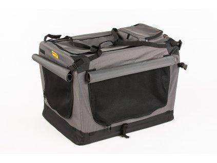 Transportní box, skládací kenelka Cool Pet Plus M šedá – 60 x 42 x 42 cm