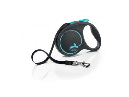 Vodítko Flexi Black Design L 5 m/50 kg, modrá – pásek