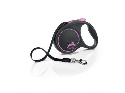 Vodítko Flexi Black Design L 5 m/50 kg, růžová – pásek