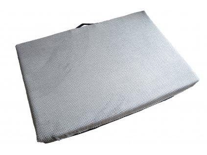 Matrace 2 XL, Světle šedá ekokůže/velur – 89 x 62 x 10 cm