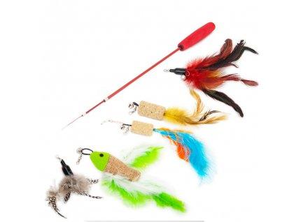Akinu udice pro kočky s pírky - barevný set s korkem 90 cm | Veselé škádlítko | Krmiva u Toma