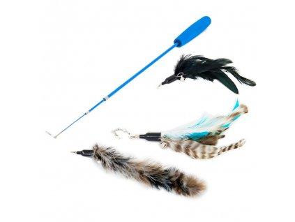 Akinu udice pro kočky s pírky - přírodní set 90 cm | Škádlítko pro kočky | Krmiva u Toma