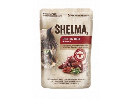 Shelma Cat kapsička - hovězí s rajčaty a bylinkami v omáčce 85 g   Hovězí kapsička bez obilovin   Krmiva u Toma