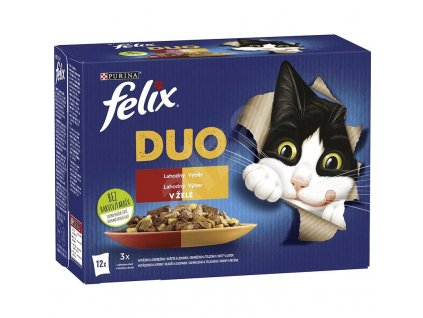 Felix Fantastic Duo Multipack (12 x 85 g) - kuře a ledvinky, hovězí a drůbež, krůta a játra, jehněčí a telecí