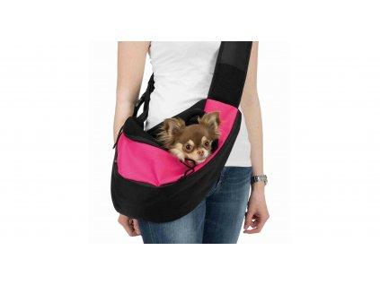 Přenosná taška - nosička na hrudník 50 x 25 x 18 cm růžovo/černá