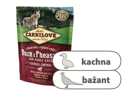 Carnilove CAT Duck & Pheasant for Adult Cats Hairball Control 400 g