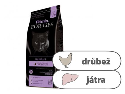 Fitmin For Life Hairball kompletní krmivo pro kočky 1,8 kg