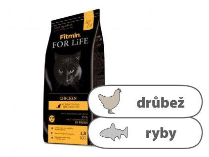 Fitmin For Life Chicken kompletní krmivo pro kočky 1,8 kg