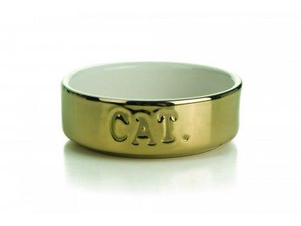 BZ CERAMIC CAT BOWL GOLD 11 5X4 2502202110093528916