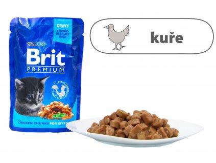 Brit Premium Cat Pouches kuřecí kousky pro koťata 100 g