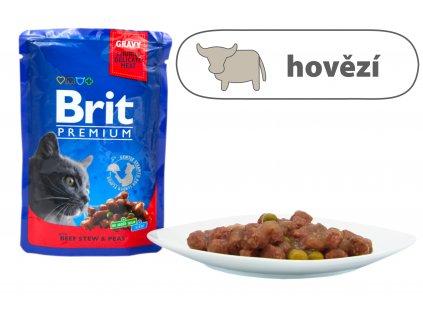 Brit Premium Cat Pouches s hovězím a hráškem 100 g