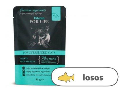 Fitmin For Life Lososová kapsička pro kastrované kočky 85 g