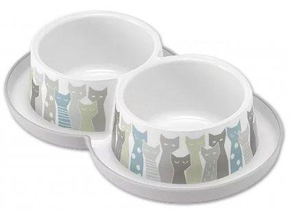 Trendy dvojitá miska pro kočky Eden 2 x 350 ml