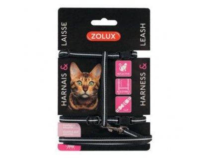 Postroj kočka s vodítkem 1,2m černý Zolux