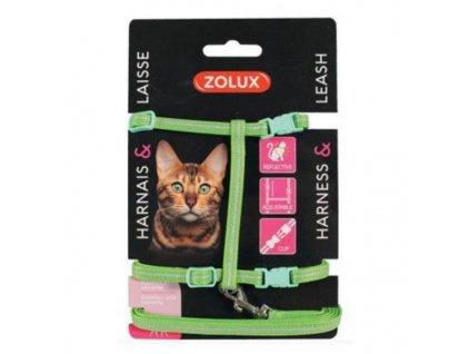 Postroj kočka s vodítkem 1,2m zelený Zolux