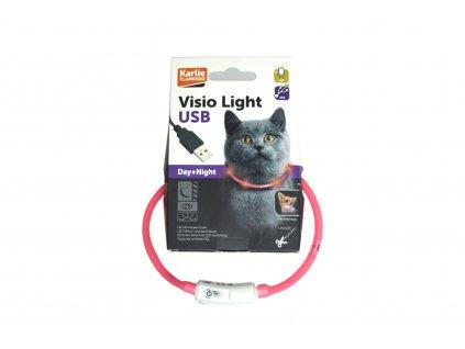 Visio Light svítící obojek 20 – 35 cm, růžový