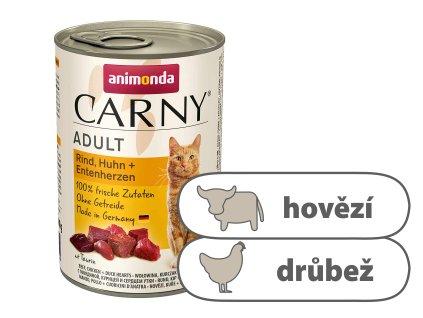 Animonda CARNY Adult – hovězí, kuře, kachní srdce