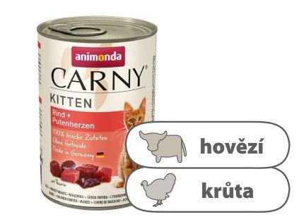 Animonda CARNY Kitten – hovězí, krůtí srdce 400 g